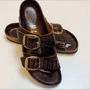 Birkenstock Arizona Croc-Embossed Leather Slides